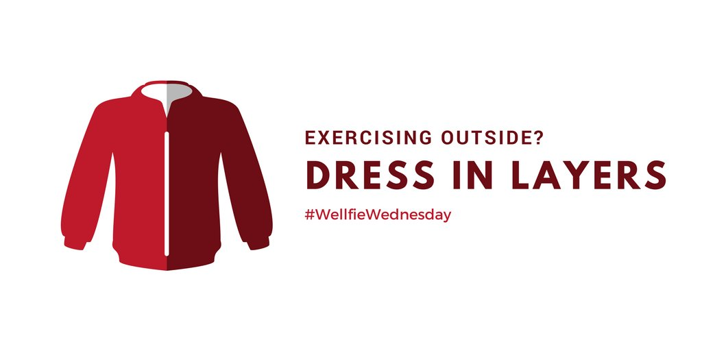 As you head out for your #WellfieWednesday workout, resist the temptation to bundle up too much. It's best to wear layers so you can better regulate your body temperature as you warm up. 👍 https://t.co/u4lcCMIfFC