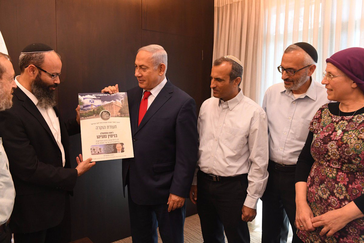Prime Minister Netanyahu met leaders of the Jewish settlement in Hebron and Chairman of the Judea and Samaria council who thanked him for acting towards establishing and developing the Jewish settlements in Hebron, and promoting the construction in the Hizkia Quarter in Hebron.
