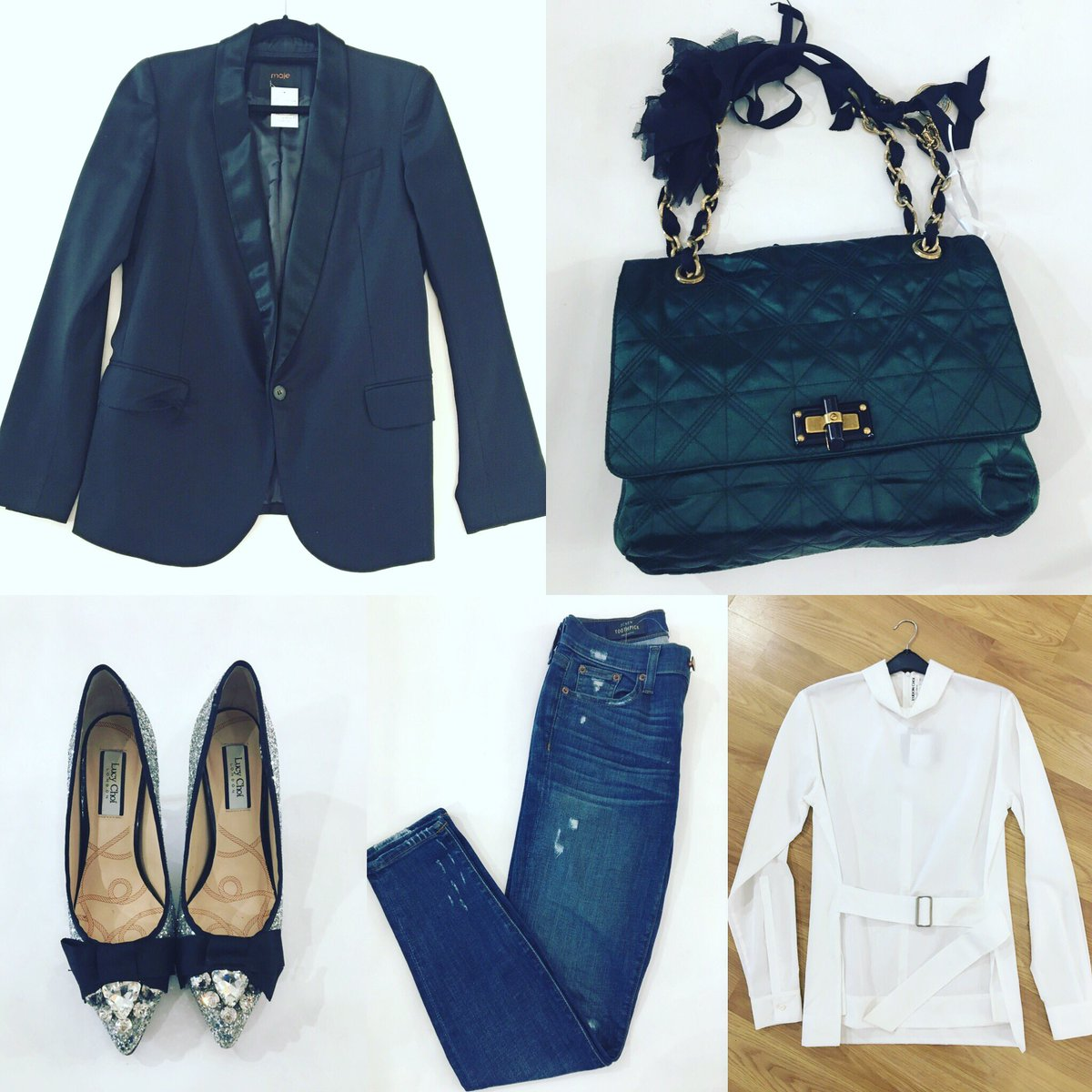 A tuxedo blazer is perfect for dressing up or down. #Maje blazer looks fab with our emerald green silk #Lanvin #Happybag #EudonChoi Ventris shirt #JCrew toothpick jeans  Add a touch of everyday sparkle #LucyChoi #Silverheels (size 38, £60). #capsulewardrobe #lookoftheday<br>http://pic.twitter.com/ShHJ2LdKq7