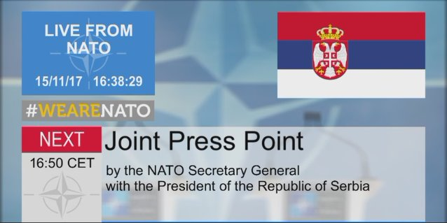 Press point with #NATO SG @jensstoltenberg and  President @avucic live at +/- 16:50. Watch it here   http:// bit.ly/2An2mQ5  &nbsp;  <br>http://pic.twitter.com/yPXRhJMrUc