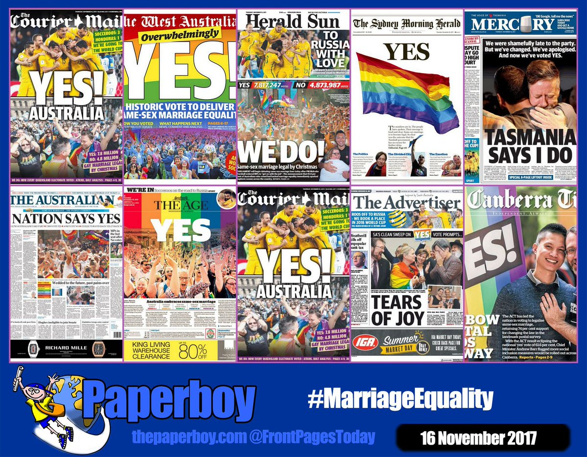 RT @frontpagestoday: Some historic Australian front pages today! #MarriageEquality #FrontPagesToday https://t.co/6i4BF2QkS2