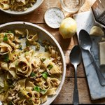 Image for the Tweet beginning: Slow-cooked leek pappardelle with crispy