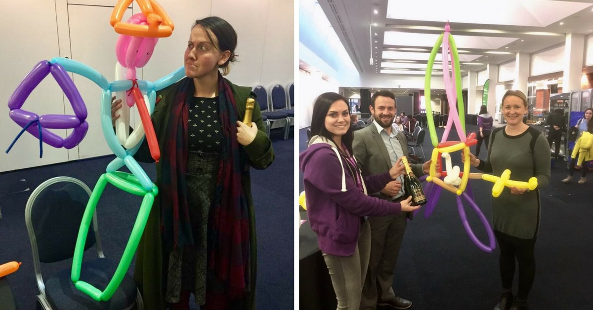 Impressive balloon modelling skills at today&#39;s Manchester Postgrad Study Fair! Congrats to the winners of our competition – Hannah Nicole from @BristolUni and Liz from @COATEDEngD Can you guess what they are? #highred #loveHE <br>http://pic.twitter.com/TG33HRxbEy