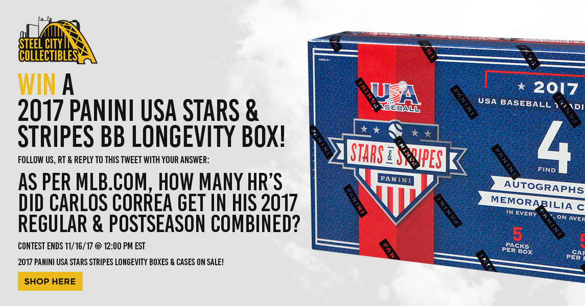 Follow us, RT, &amp; answer for your chance at a 2017 USA Stars &amp; Stripes BB Longevity box! Ends 11/16/17 @ 12PM EST!  http:// ow.ly/Dx9y30gAW22  &nbsp;   | #MLB <br>http://pic.twitter.com/ts1LosBWP0