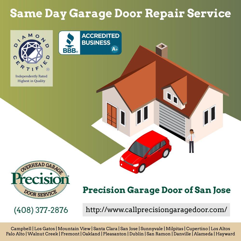 Precisiongaragedoor precision door twitter for Garage door repair san jose ca