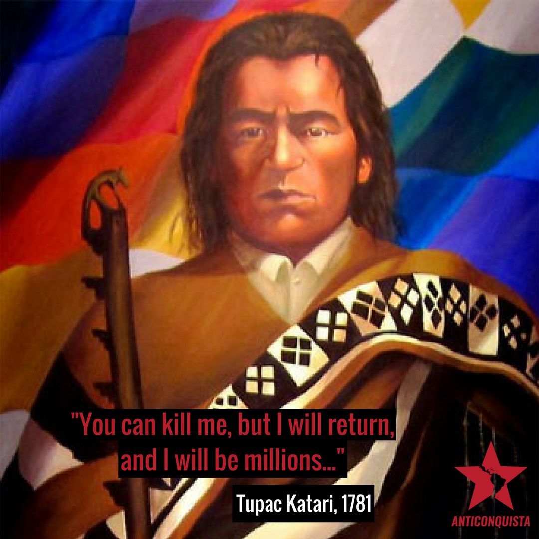 On this day in 1781 in what is now known as Bolivia, Tupac Katari was brutally killed by the Spanish invaders, after laying siege to La Paz with an army of 40,000 people for six months. #TupacKatari #BartolinaSisa #EvoMorales #Bolivia <br>http://pic.twitter.com/QldPm5lH5C