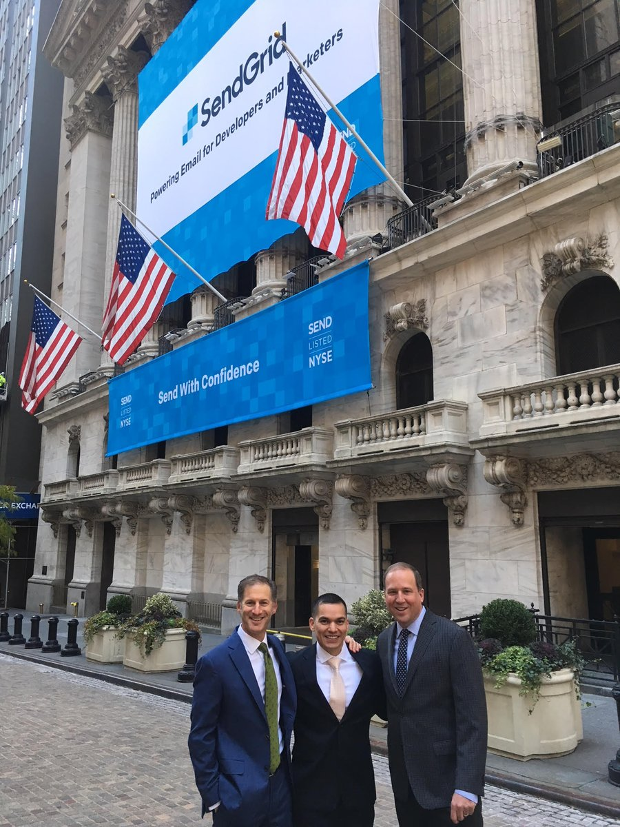 From Inspiration to IPO - congrats @SendGrid! #SEND @NYSE #techstars https://t.co/6QSKeGykgO 🚀
