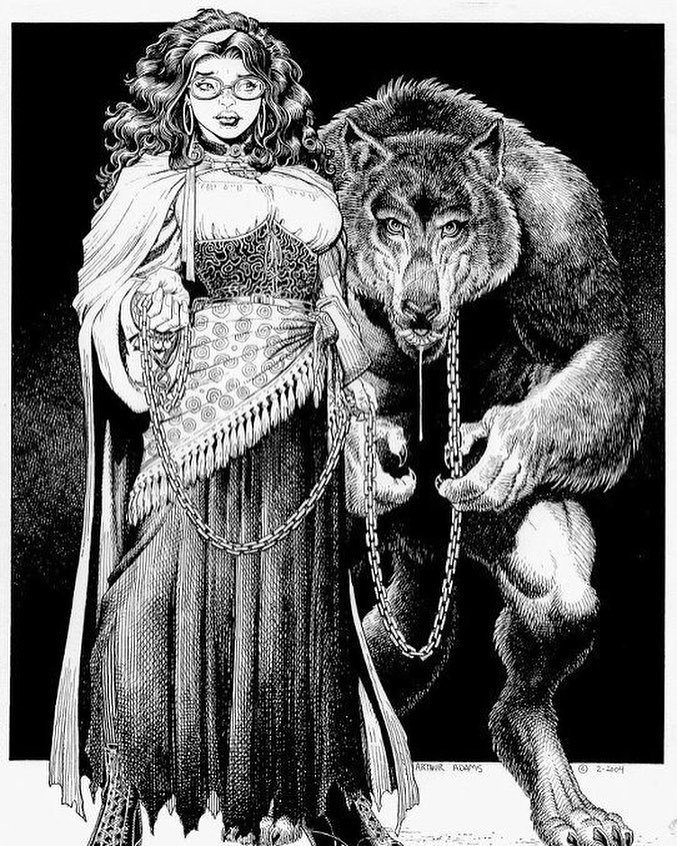 An old drawing I did for a project I've had in my head for quite a while. One day... #witch #glasses #werewolf #leash #arthuradams #arthura…<br>http://pic.twitter.com/9AkRatEYj9
