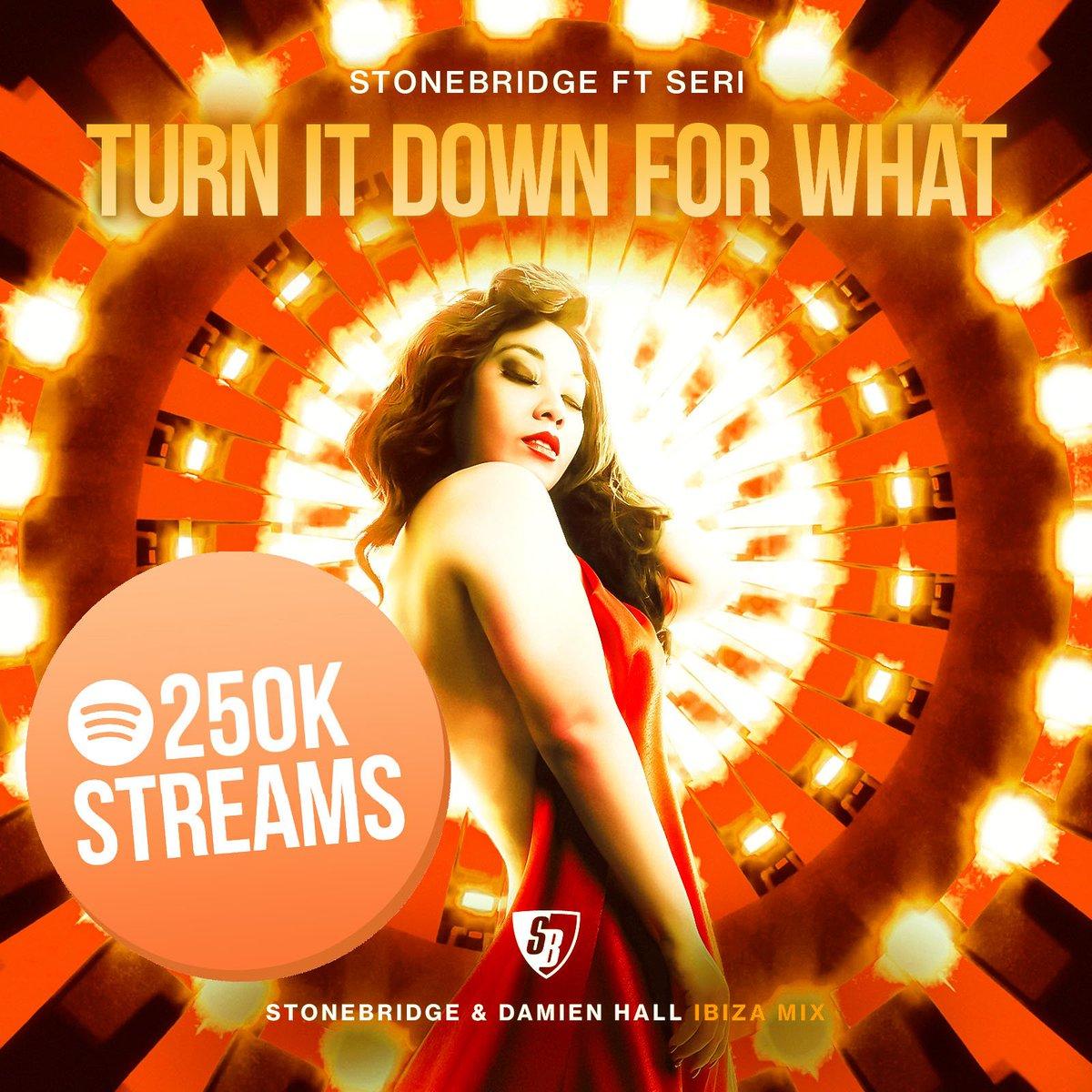 Thanks for the love on StoneBridge ft Seri - Turn It Down For What (StoneBridge &amp; Damien Hall Ibiza Radio) - 250000 streams on @Spotify !  http:// open.spotify.com/track/3Ic0l5kQ s02n6dJLgpnlqN &nbsp; …  #stonebridge #seri #TIDFW #damienhall #stoneyboymusic #ibiza #house<br>http://pic.twitter.com/FdXwgF562v