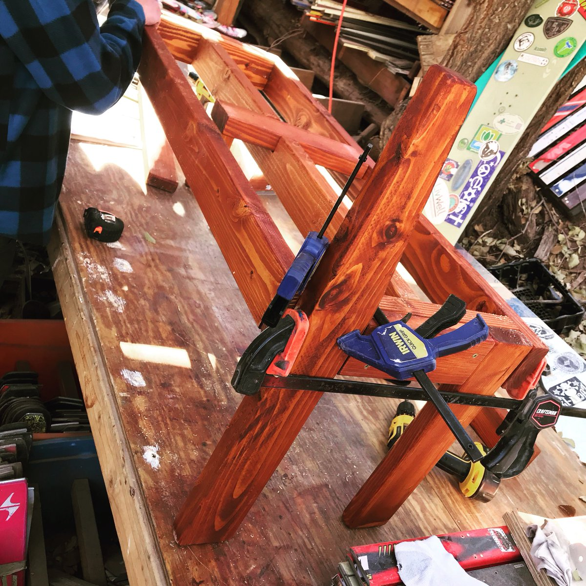 Building bases for Avalanche Sports Bar &amp; Grill in Crested Butte for their Ski booth seating expansion!   Awesome. #handmade #handcrafted #madeincolorado #madeintheusa #benches #douglasfir #woodworking #buylocal #coloradolife #repurposed #skis #upcycle #coloradosprings #manitou<br>http://pic.twitter.com/0FxUxiZujB
