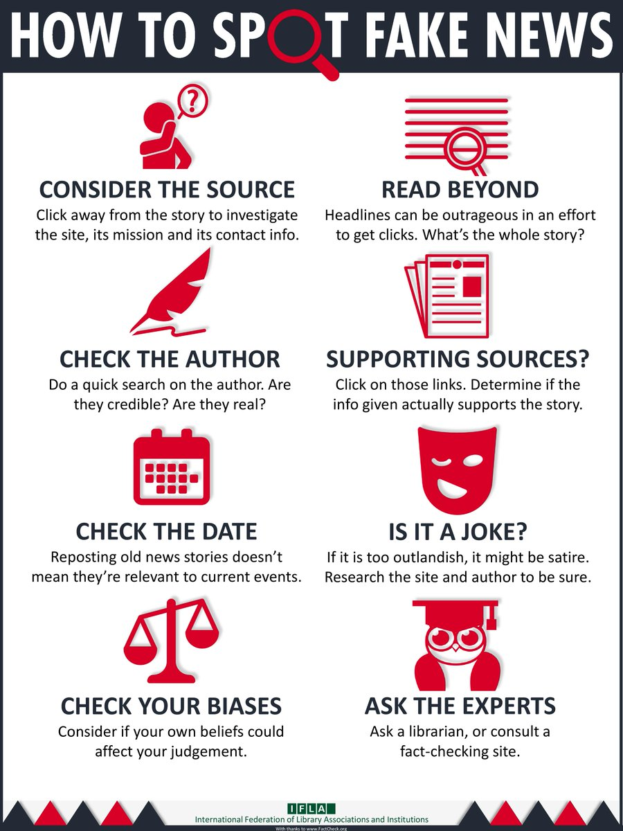"test Twitter Media - ""How to Spot Fake News"" International Federation of Library Associations and Institutions (IFLA) https://t.co/YkjQ4fZkNL"