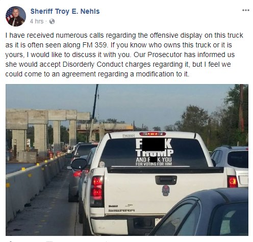 Memo to @SheriffTNehls:  You can't prosecute speech just because it contains the word 'fuck.'  The owner of this truck should contact @ACLUTx.