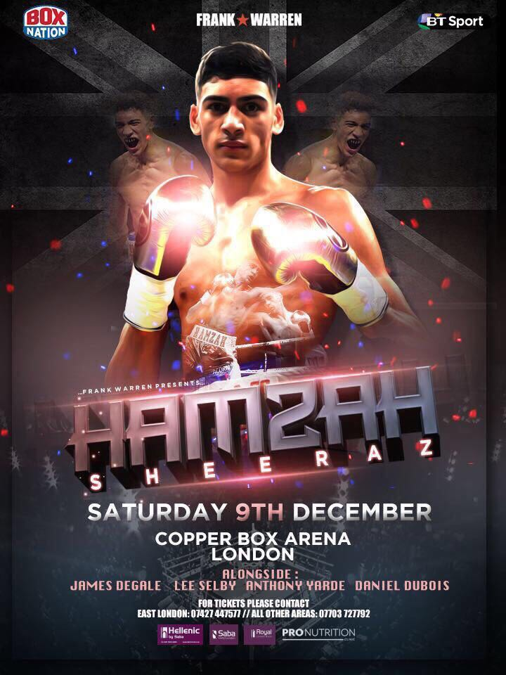 My man @sheeraz_hamzah in his second pro fight at the Copper Box on 9th Dec  Grab a ticket and follow this talented young mans journey #boxing #Boxing #boxinglife #boxingtraining #boxinggloves #boxinghype #boxinggym #boxingband #boxingnews #hboboxing #beatboxing #titleboxing<br>http://pic.twitter.com/TIPinXYOBy