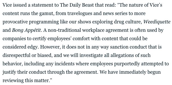 The first part of this statement is totally irrelevant to the subjects and reads like a ad copy for Vice content. And the fact that it comes *before* the part about how sexual harassment is bad reflects poorly on the company.  https://t.co/mDoIk4UjQ3
