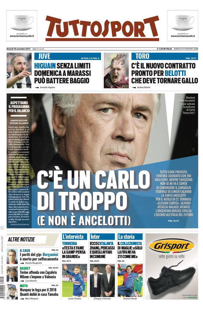 Front pages #CdS/#TS  Carlo #TavecchioCarlo #Ancelotti to be #Azzurri CT  #Dybala wants to celebrate turningby returning to scoring ways #Samp &amp; #FCB  #Higuaín is limitless &amp; in #SampJuve at #Marassi, he can beat Baggio  #Juve #primapagina #SerieA #UCL<br>http://pic.twitter.com/WLXJ3W5wvo