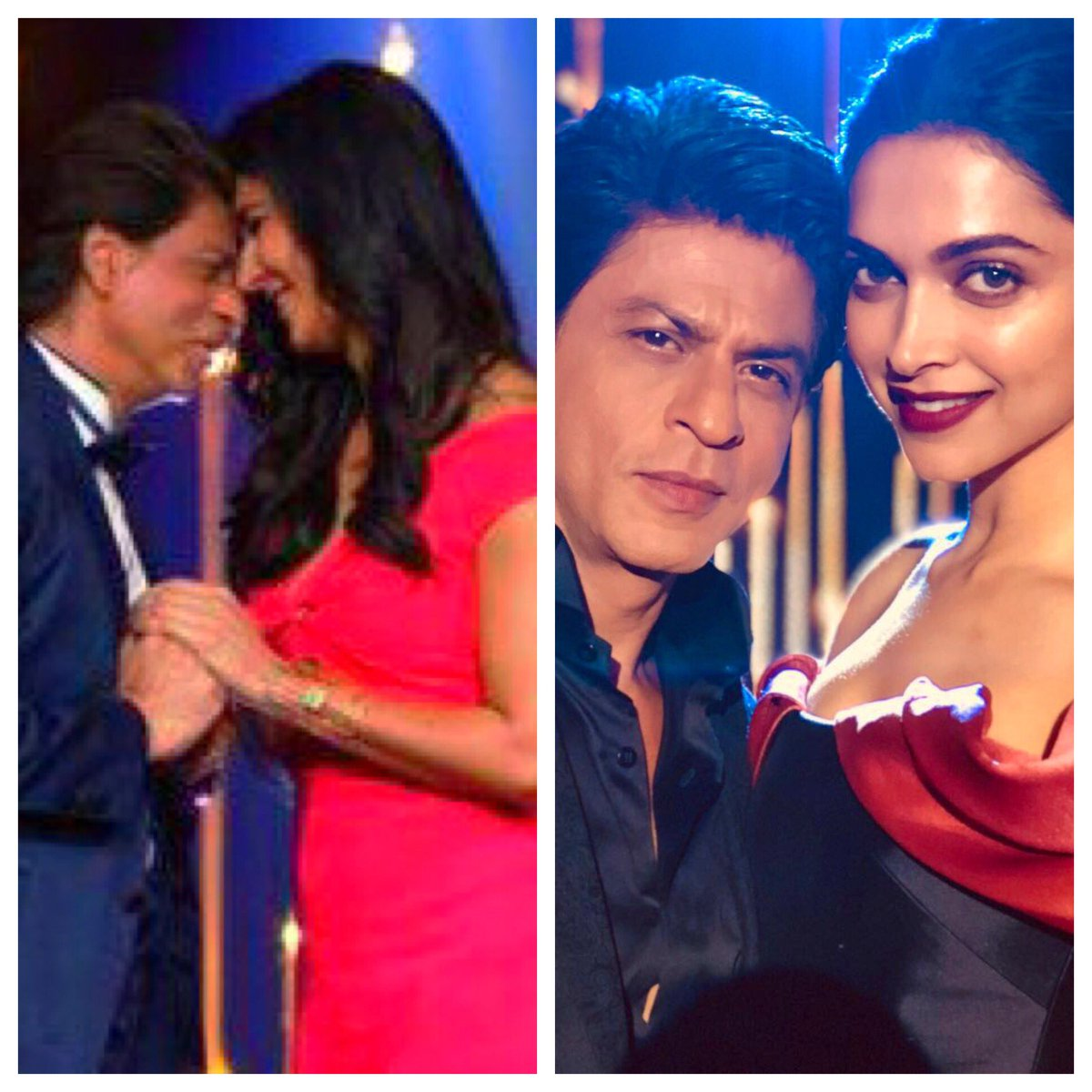 Hard day at work…waltzing with the lovely Katrina & a hug from beautiful Deepika. And they say actors have it easy !!!