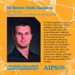 The next Victorian Tall Poppy is Dr Enrico Della Gaspera @RMIT working on the use of widely available, cheap and non-toxic materials for the development of next-generation electronic technologies. #YTPSAWARDS