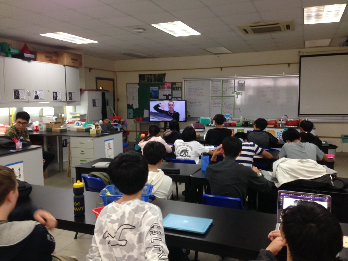 Hearing about how @VanessaPirotta w gr 10 Ss and @AdrienneHigley! She takes samples of whale snot off the coast of Sydney using #drones! Great use of tech in science! #sciencechat #skypeascientist #biochat #aisgz #futureready<br>http://pic.twitter.com/KeS58H3Q3J