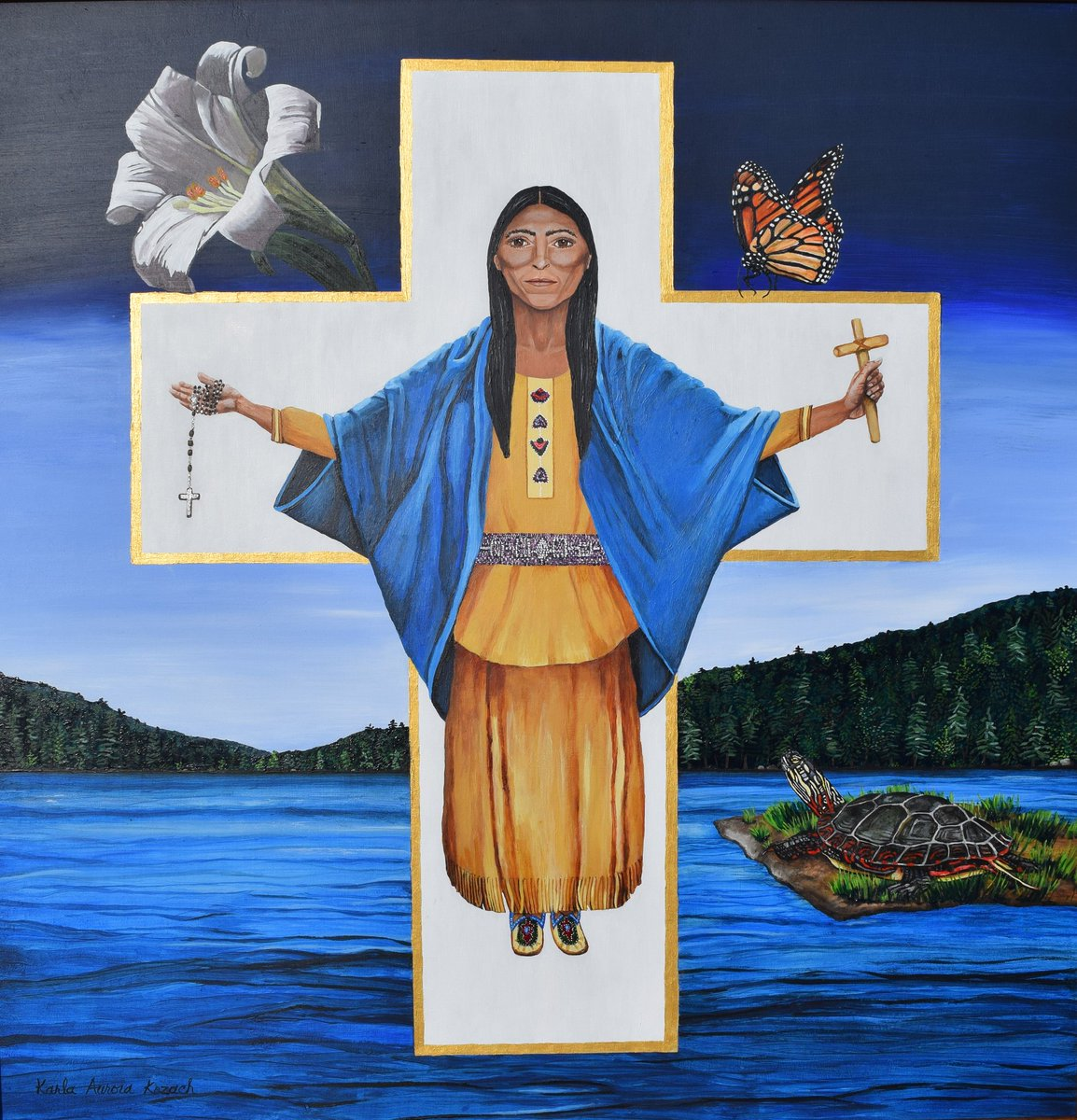 Saint Kateri, patroness of ecology and Native American Peoples, pray for us. Painting by Karla Kozach. #Catholic #ecology #NativeAmerican #FirstNations #IntegralEcology #NationalShrine #NationalHistoricSite #Kateri #Tekakwitha #Fonda #Albany #TraditionalEcologicalKnowledge<br>http://pic.twitter.com/RIchih05k6