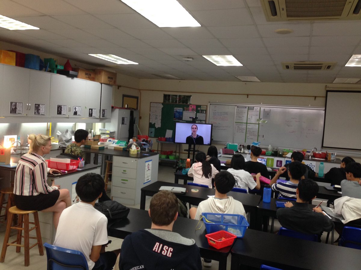 @VanessaPirotta talks about doing #skypeascientist to inspire young people to pursue their passions. Wonderful expert for our #aisgz students to speak with. Thank you!!! @AdrienneHigley<br>http://pic.twitter.com/RBO92YYSlm