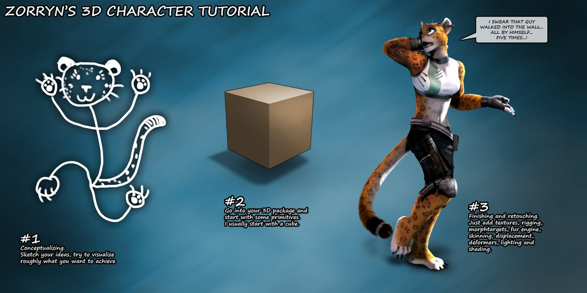 Zorryn&#39;s 3D Character Tutorial... ... just 3 simple steps!  Older junk, I somehow forgot about... °___°;  #3d #c4d #cgi #cinema4d #rendering #tutorial #vivon #transduced #zorryn<br>http://pic.twitter.com/8qwDPjXheS