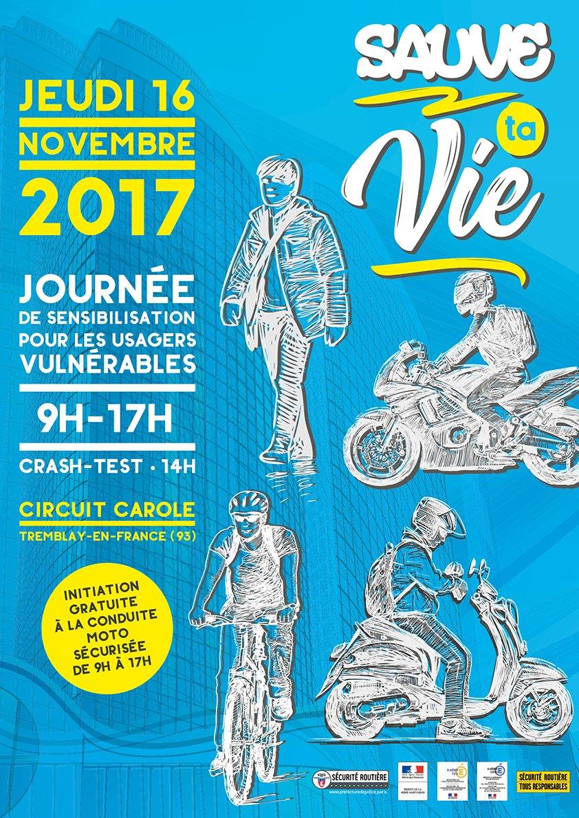 [#sécuritéroutière] Piétons, cyclistes, motocyclistes... Aujourd'hui, @prefpolice sensibilise les usagers vulnérables, petits et grands, lors d'une journée de prévention au circuit Carole (93).