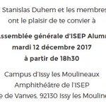 Notez tous dans vos agenda, l'assemblée générale d'@IsepAlumni, une bonne occasion de se retrouver d'avoir les récentes update de l'association.📅 Mardi 12 décembre 🕗 18h30 📍 Campus d'Issy les Moulineaux