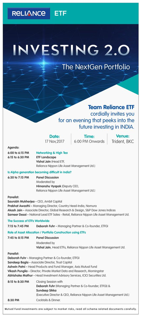 Looking forward to the Reliance ETF event - A look into the future of investing in India at 6pm tomorrow in Mumbai.  Hear how #ETFs are being used by institutions, financial advisors and retail investors in India and around the world for asset allocation <br>http://pic.twitter.com/Xs2yf6fBdh