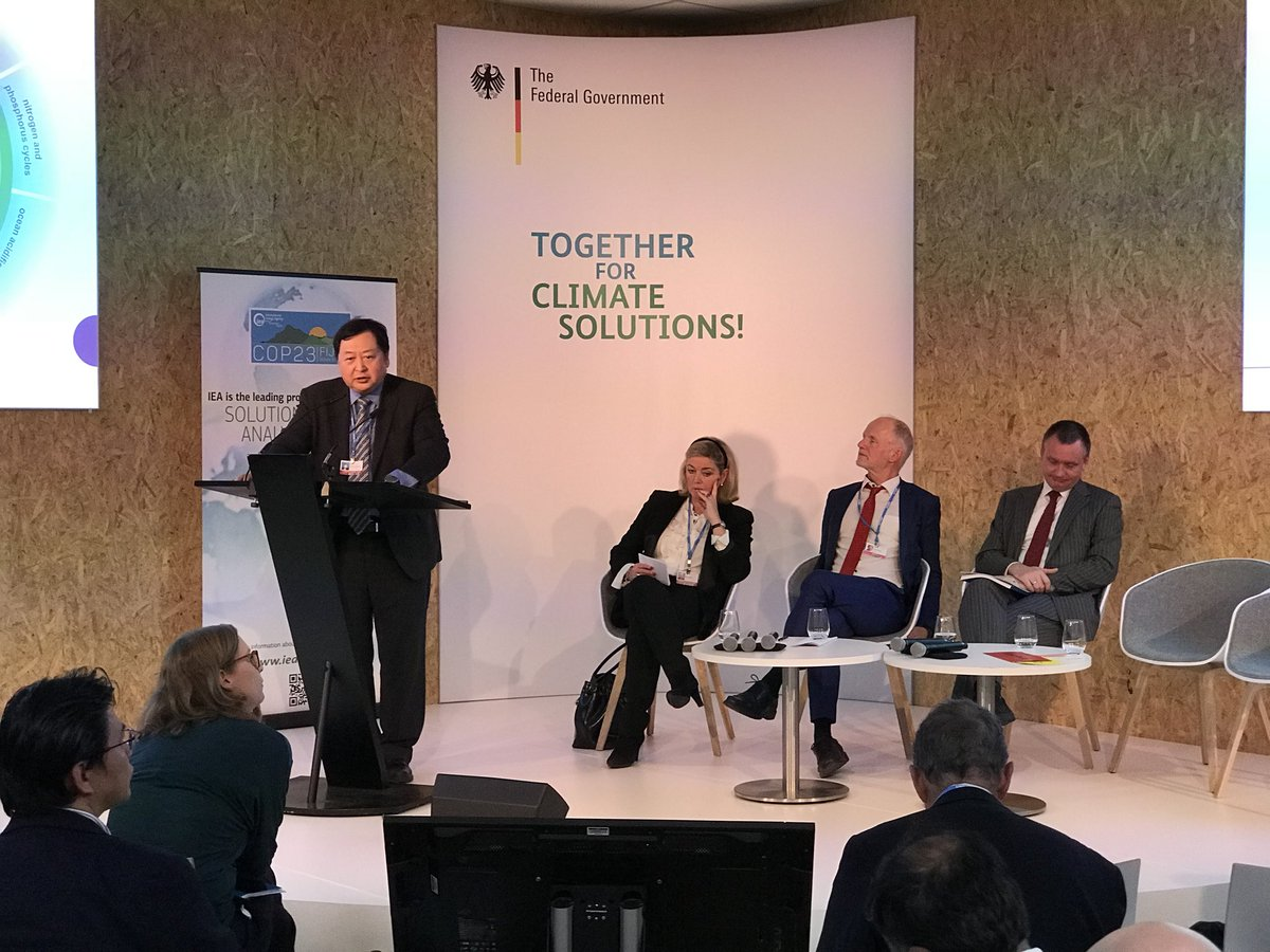 Director Wang Zhongying presents th China RE Outlook at the German pavilion at #COP23