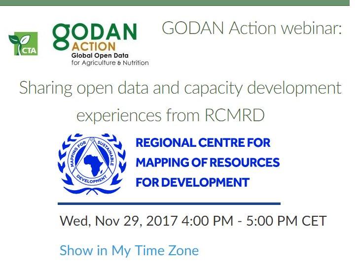 29 November Join Free #GODANAction webinar on Sharing #opendata &amp; #capacitydevelopment experiences from @RCMRD #earthdata #SDGs #UNFAO @SERVIRGlobal @icimod @ADPCnet @CTAflash @godanSec @ECA_OFFICIAL @GLTNnews @giz_gmbh @USAIDEastAfrica @ODIHQ :  http:// bit.ly/2zHdLO3  &nbsp;  <br>http://pic.twitter.com/qssDgAkuj0
