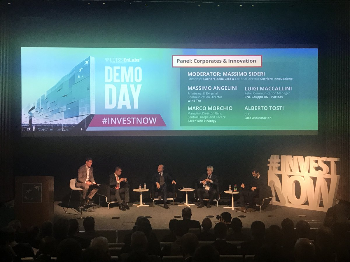 Every company should invest in #OpenInnovation, which is the relationship with the corporates? We're going to talk about it during the panel with the moderator @massimosideri @Corriere Editorialist and @CorInnovazione Editorial Director #investnow <br>http://pic.twitter.com/9wdoSyCLit