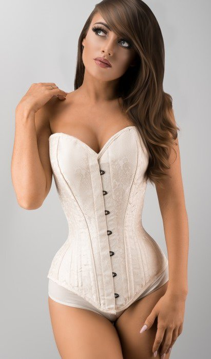 """Brand new in and just $55/£39, this stunning cream brocade overbust can take 4-5"""" from your waist size. Available in sizes 20""""-38"""" but hurry, they will sell quickly. #waisttraining #bodyshaping #bridalcorset #expertwaisttraining Link to this corset: https://t.co/LHCCEUdxmm https://t.co/OCxI6VVhX5"""
