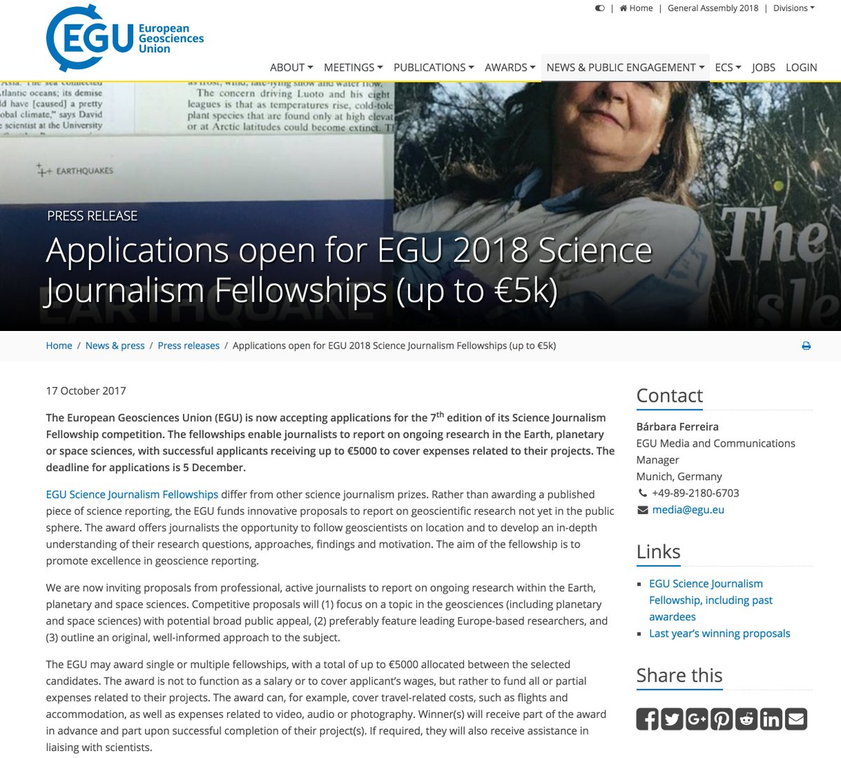 Fellowship open! May interest many attending #WCSJ2017. Open science journalism fellowship from @EuroGeosciences Deadline: 5th December!  https://www. egu.eu/news/362/appli cations-open-for-egu-2018-science-journalism-fellowships-up-to-5k/ &nbsp; … <br>http://pic.twitter.com/hjtPxvsKtI