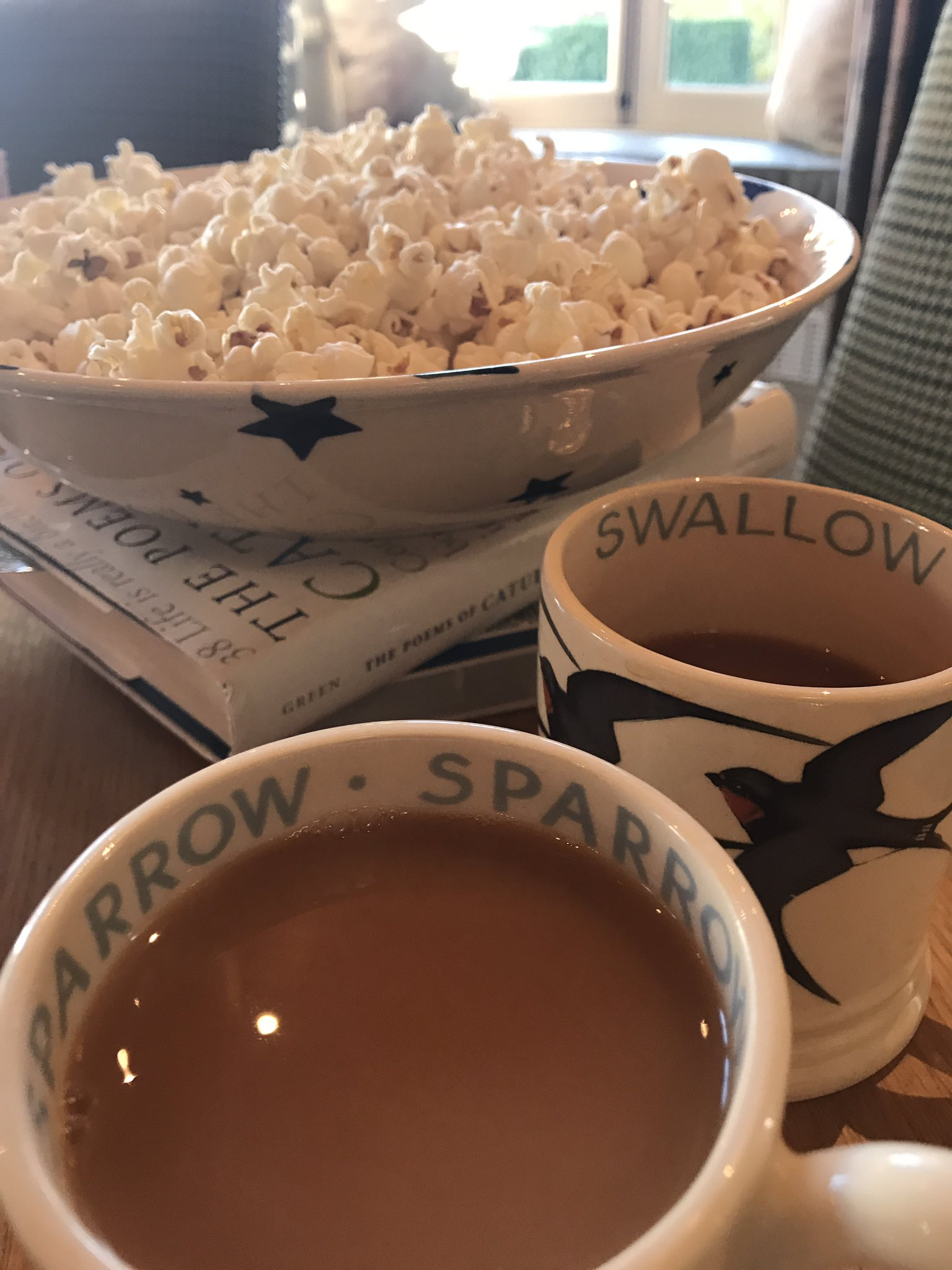 Greater love hath no man than this: that, unasked, he doth bring tea & popcorn to the writing room in the garden. https://t.co/2e5SUbE6kT