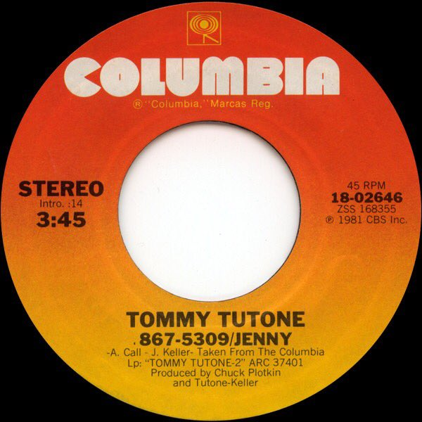 You know you dialed it at least once. #OnThisDay in 1981, Tommy Tutone released the single 867-5309/Jenny, tormenting people with that phone number across the country. Song peaked at No. 4 #80s <br>http://pic.twitter.com/UbnEdZNyvR