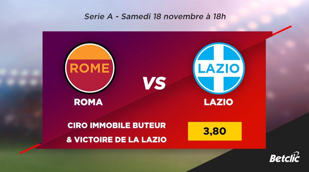 🏆 Serie A  ⚽ Roma vs Lazio  📊 C'est le 4ème derby de Rome en 2017 ! La Lazio en a déjà remporté 2.  💰 Ciro Immobile buteur & victoire de la Lazio : cote à 3,80 !  ➡️ Les cotes du match : https://t.co/EivpXe0dFK