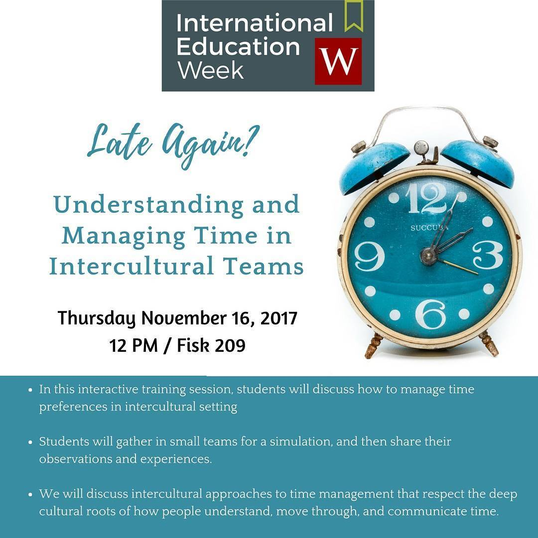 test Twitter Media - Today at noon: Late Again? Understanding and Managing Time in Intercultural Teams, in Fisk 209. #IEW2017 🌎   https://t.co/HObgMqem1l https://t.co/SqvcehOICp