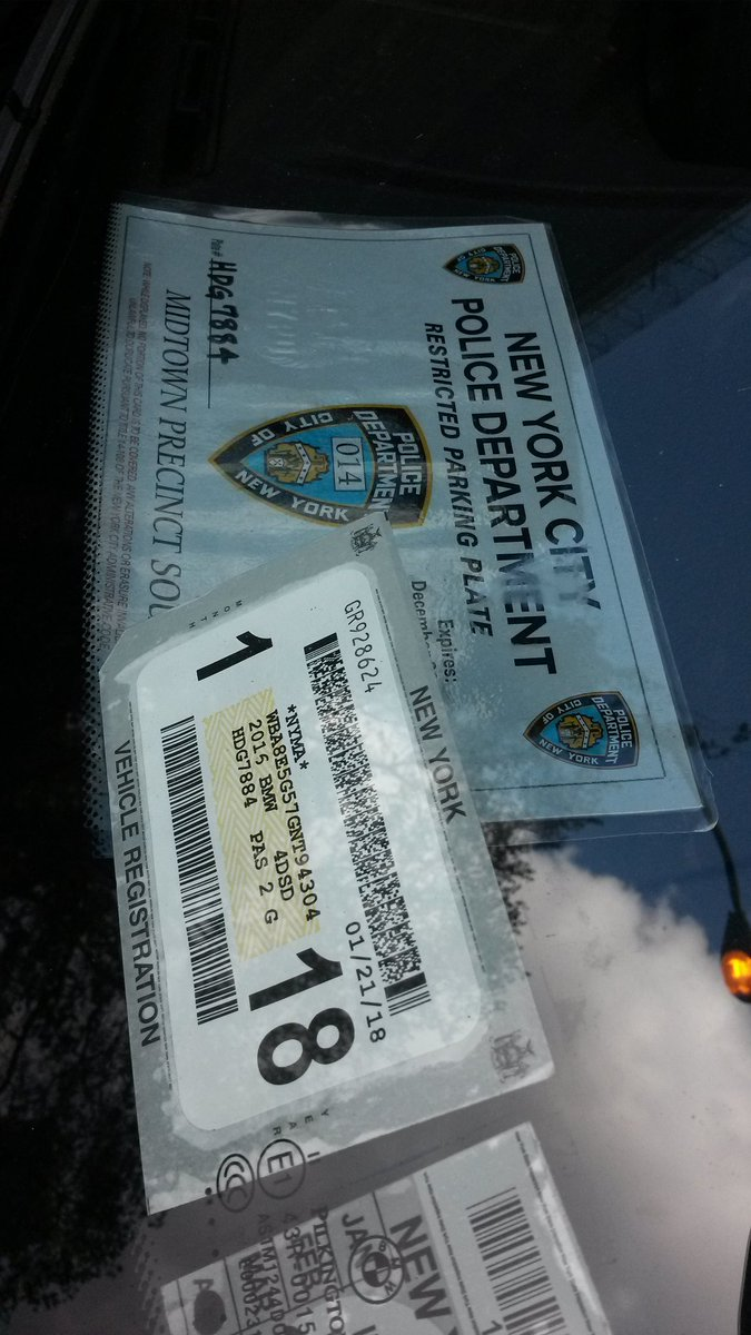 """placard corruption on Twitter: """"We automatically suspect laminated NYPD  Restricted placards may be fake. There's a reason the Patrol Guide  prohibits it, ..."""