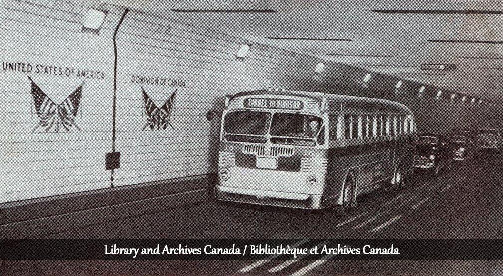 #TBT The international boundary line in the Windsor-Detroit Tunnel in 1950 #Windsor #Border @LibraryArchives<br>http://pic.twitter.com/TWrsbArl8E