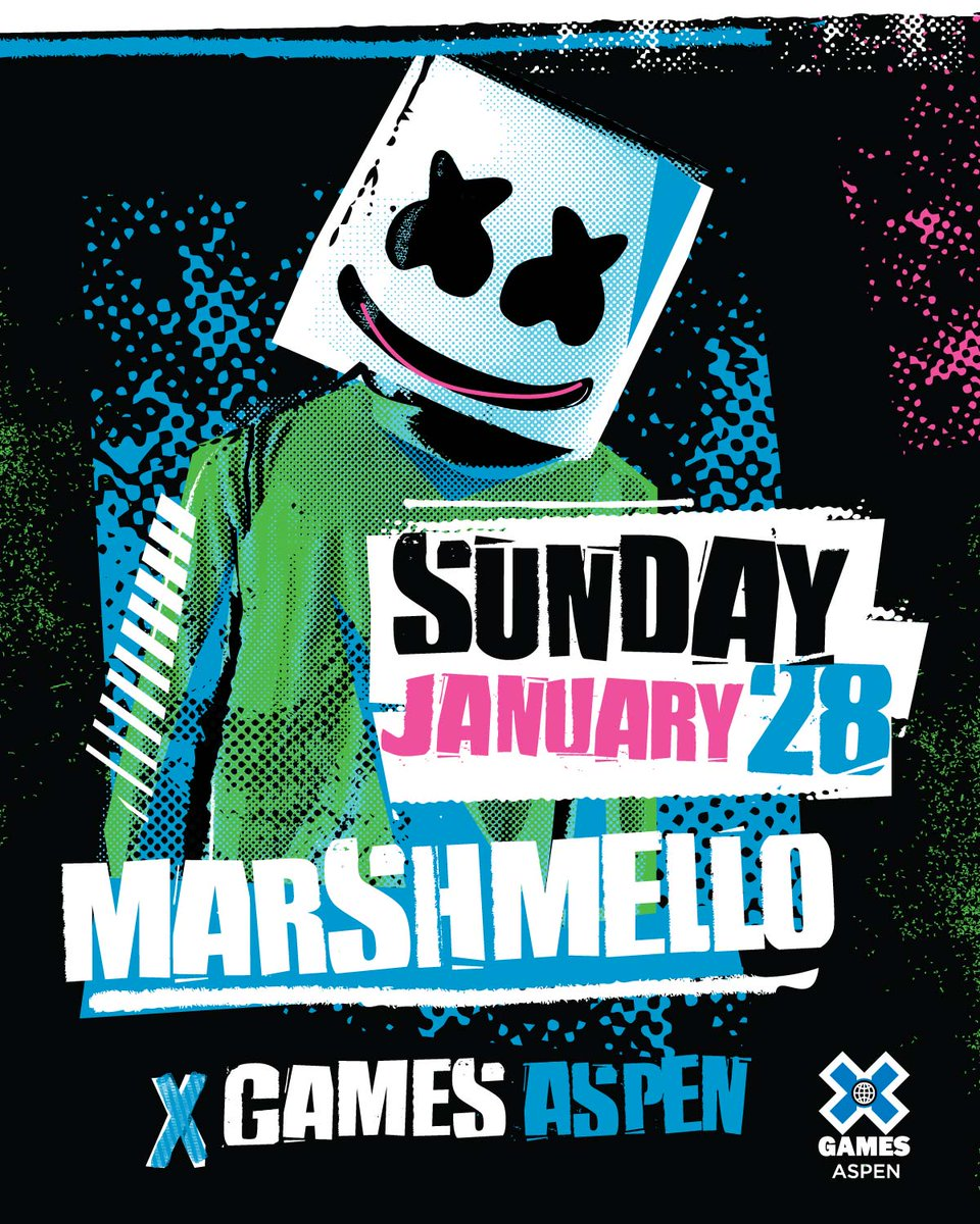 Marshmello will perform live at #XGames Aspen on Sun., Jan. 28!  Tickets are on sale now »  http:// XGames.com/Tickets  &nbsp;  <br>http://pic.twitter.com/8m2KAHnaQW