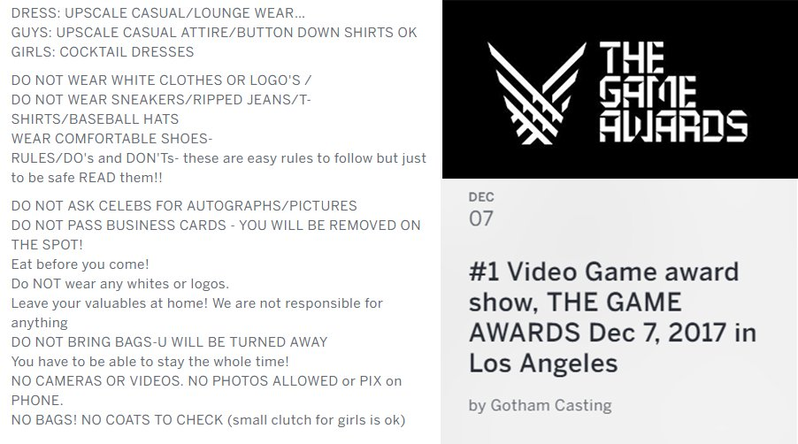 So if a woman wears a button down shirt or a man carries a clutch they can't attend the #VideoGameAwards? 🤔 https://t.co/rIuvrBIs82