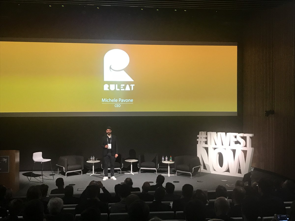 On stage @PavoneMichele CEO of @ruleat_app the SaaS, B2B cloud-based, created to improve communication and organization inside restaurants. Ready to revolutionize your restaurant?  #investnow <br>http://pic.twitter.com/KVqyJG9Gcr