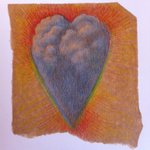 I just keep on seeing rainbows + thinking about hearts. So: a heart of clouds w/rainbow colours. #sketchbook