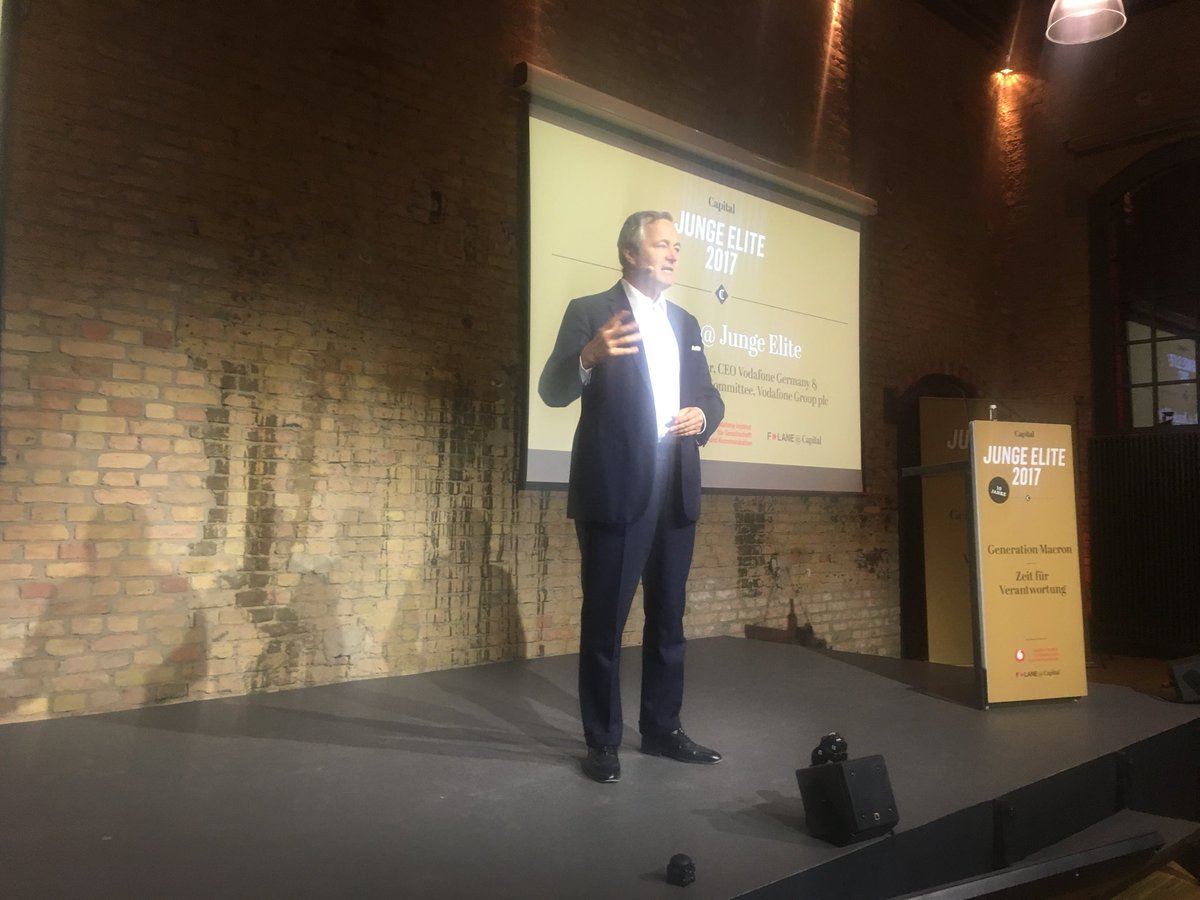 Here at Junge Elite 2017 with keynote speaker Hannes Ametsreiter CEO @vodafone_de talking about his vision for society and needing female founding start ups @gapsquare @vf_institute @CezaraNanu #womenintech #socialentrepreneurship <br>http://pic.twitter.com/Y8Rt6lmz5f