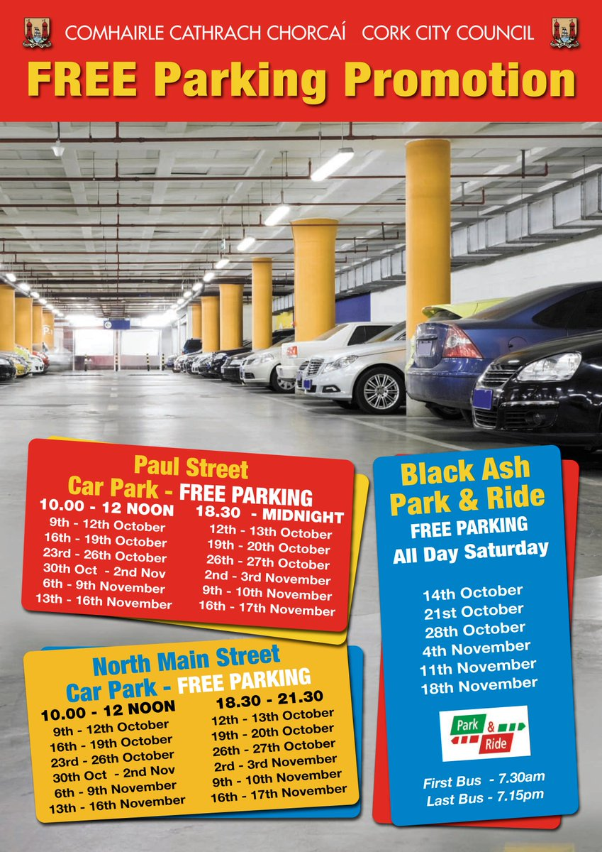 This is the last week of the Free Parking Promotion in #Cork. Free parking in both North Main St &amp; Paul St car parks this evening from 18:30 #freeparking #corkparking <br>http://pic.twitter.com/MsZzugi1tm