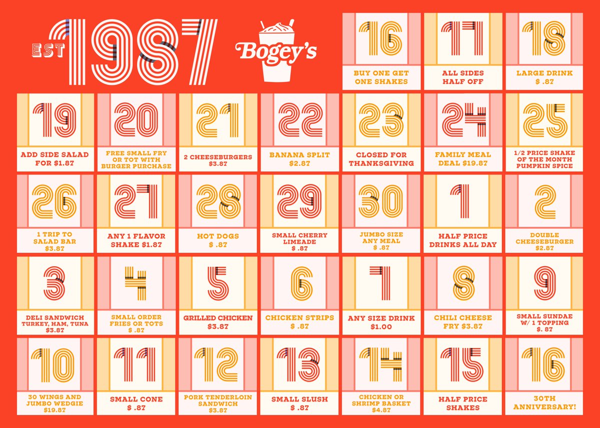 Bogeys Of Hutchinson On Twitter Today Launches 30 Deals In 30 Days Leading To Our 30th Anniversary We Start Off With Buy One Get One Free Shakes