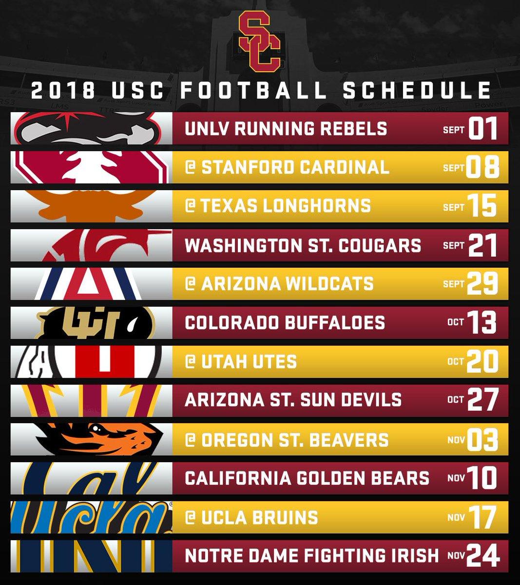 Usc Trojans On Twitter First Look The 2018 Usc Football Schedule Https T Co Oqzwsdp5bl Fighton