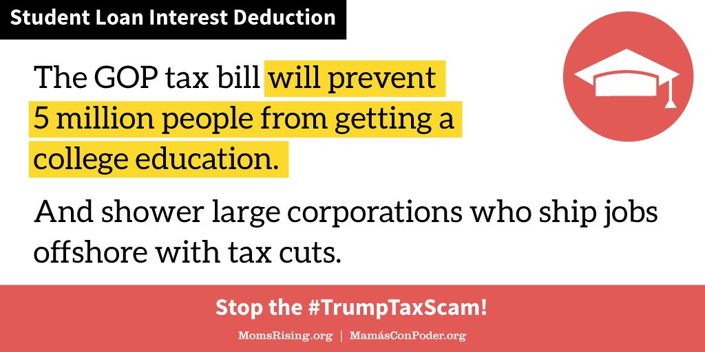 The #GOPtaxbill favors giving large corporations who outsource jobs and ship profits offshore massive tax cuts over letting 5 million people get a college education. #TrumpTaxScam #highered