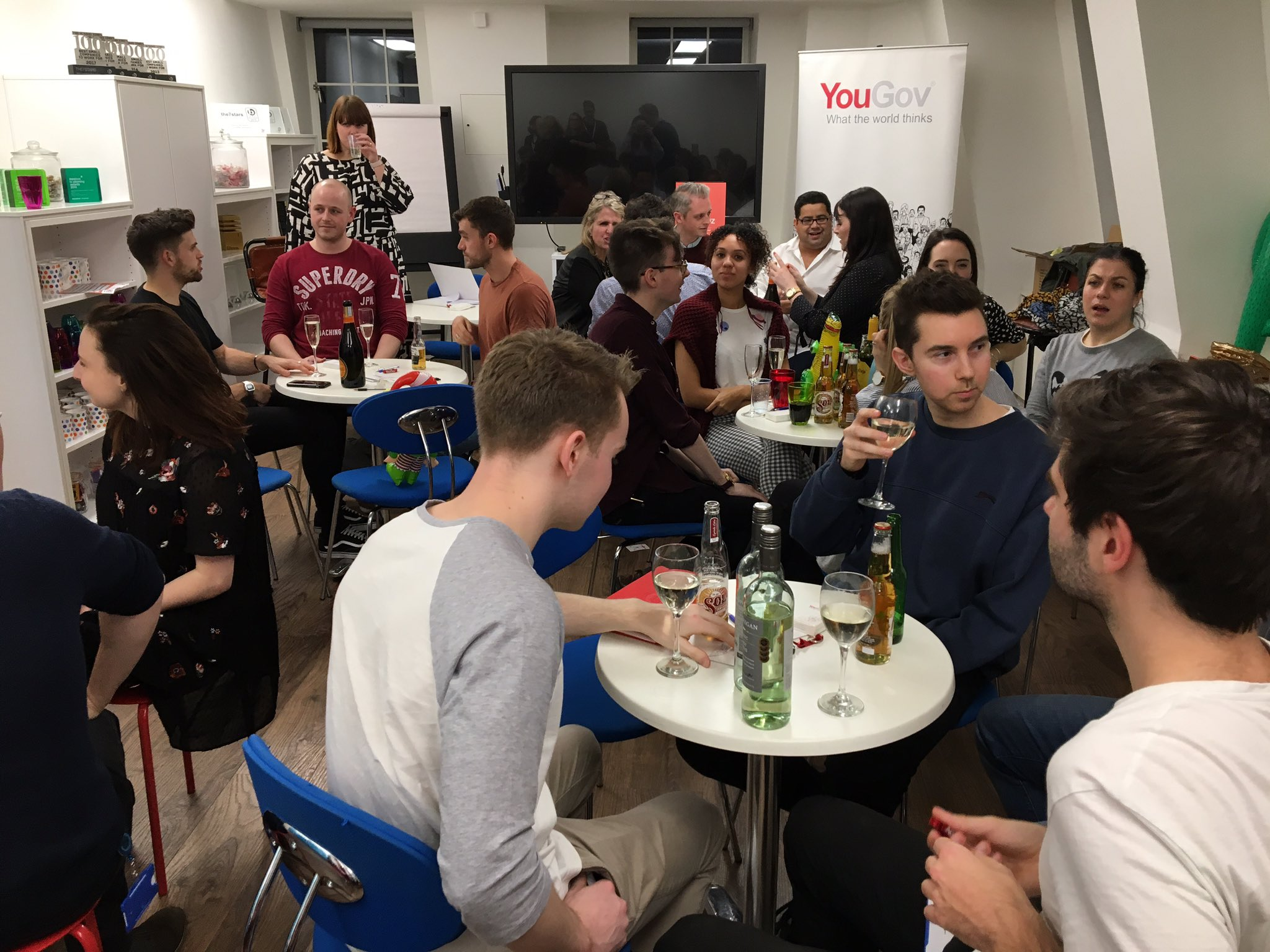 It's quiz time! Drinks (and inflatables) at the ready 🍾 @YouGov #YouGovTakeover https://t.co/0trpIuGfiD