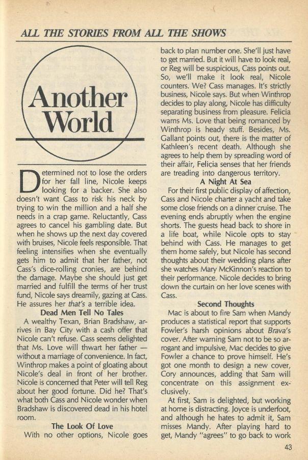 #AnotherWorld #AW  SOD Synopsis December 1, 1987  https:// classicsodaw.tumblr.com / &nbsp;  <br>http://pic.twitter.com/Qvh7WxSxQb